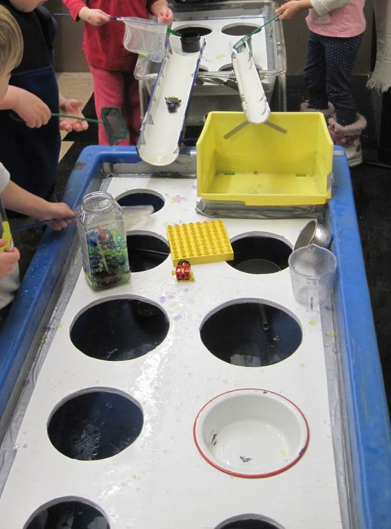 SAND AND WATER TABLES: TABLE COVERING WITH HOLES: USING A NEW MEDIUM