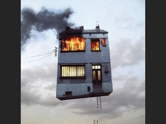 house in the air but on fire