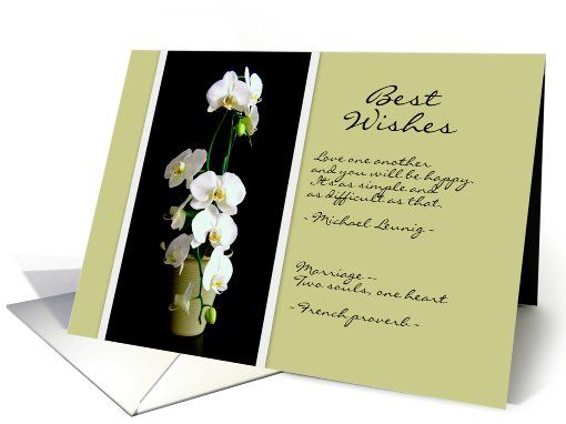 Best Wedding Wishes White Orchids Card Greetingcarduniverse Congratulations Cards Marriage General Bride And Groom Wed