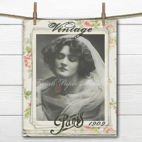French Digital Lily Elsie Collage Sheet, Vintage French Digital Print, Digital…