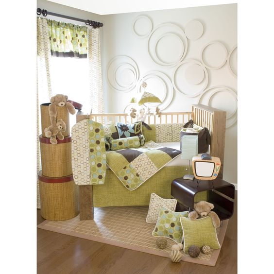 love these colors for the girls' nursery... especially with the flower accent pillow
