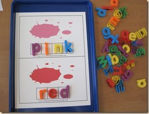 PreK Numbers, Shapes, Colors Review (lots of different activities and links to printables). (Pictured are Color Word Cards with blanks for putting in the words.)