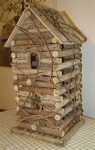 Primitive country rustic reclaimed log cabin bird house for Primitive cabin plans