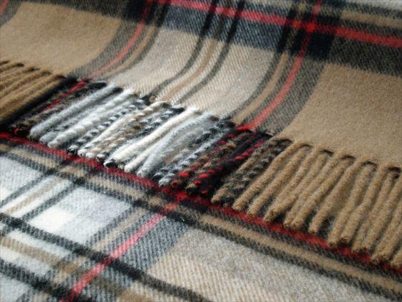 Bronte Throw Blanket - Tartan Throw - Merino Lambswool (Camel Stewart)