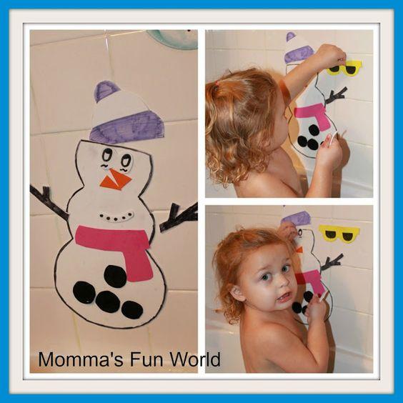 snowman bath fun with dollar store foam shapes