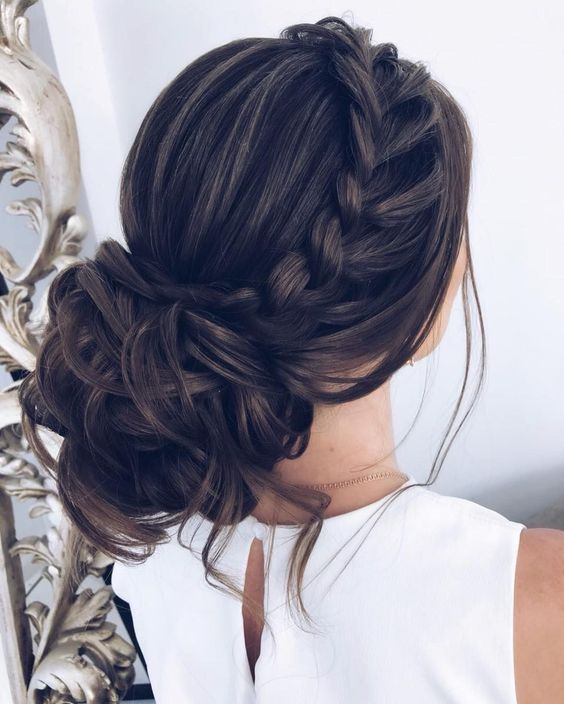 Braided Updo Bun Braids In 2020 Quince Hairstyles Braided Hairstyles Updo Messy Hair Updo