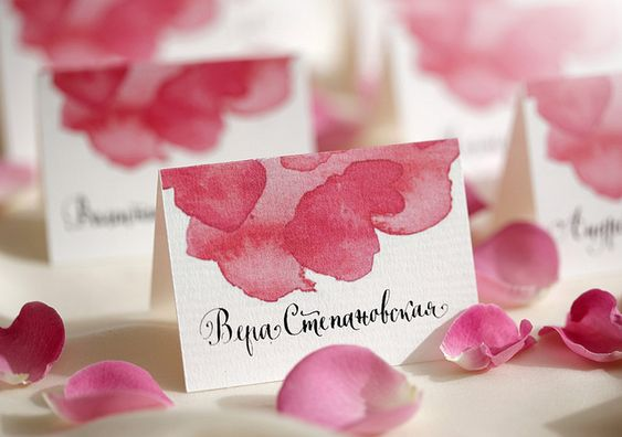 wedding, place card, stationary, calligraphy, watercolor   Flickr - Photo Sharing!