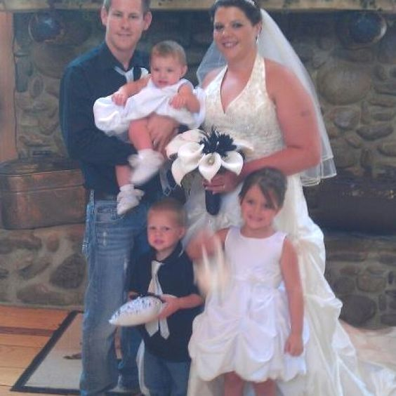 My beautiful dtr in law, handsome son, and awesome grandbabies. I wish you many years of happiness!!