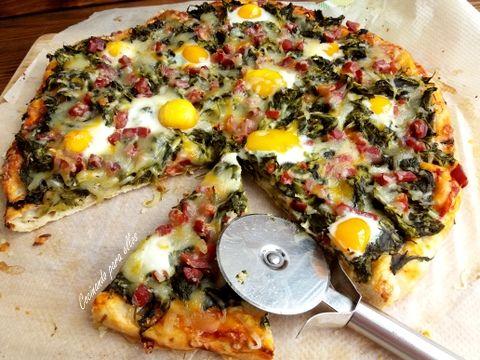 Cocinando Para Ellos Pizza De Grelos Jamón Serrano Y Huevos De Codorniz Comida Huevos De Codorniz Pizza