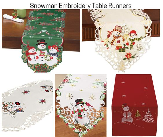 Snowman Embroidery Table Runners