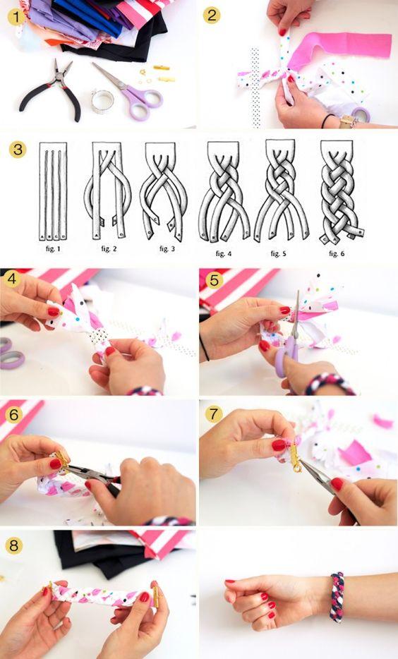 {DIY} Bracelets d'été colorés façon tresse à 4 brins à réaliser avec des chutes de tissus - www.sweetandsour.fr