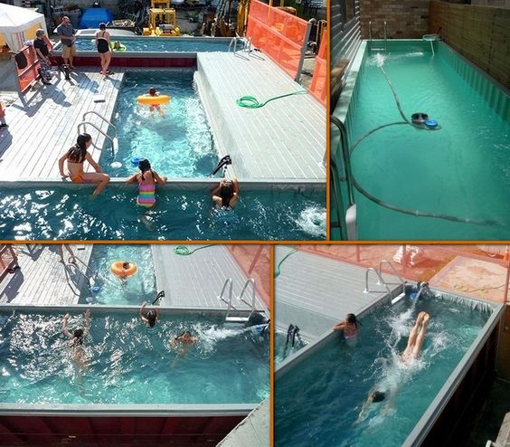 Shipping container swimming pool cool idea home ideas for Repurposed swimming pool