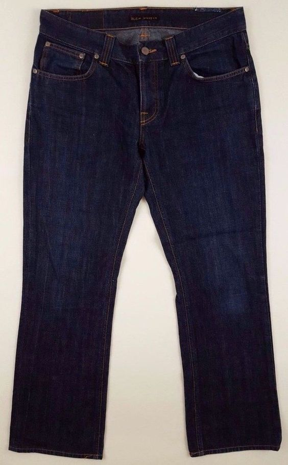 NUDIE Jeans 33 31 BLUE Mens BOOTCUT Ola FIT Size SZ Dry LIGHT Button FLY Denim…