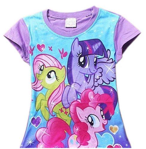 Suloinen My Little Pony t-paita n. 2v tytölle. Toisella puolella painettu kuva My Little Pony-poneista ja toinen puoli yksivärinen.