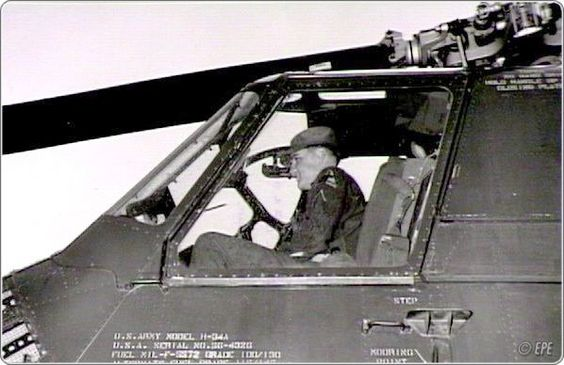 This photo was taken on April 12, 1959, during an open house on the Army base. Elvis, in addition to the assignment of driving VIPs around, including his father, shows them a day in the life of a soldier. In this photo, Elvis poses in an Army helicopter.