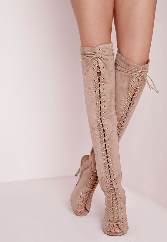 Over The Knee Lace Up Gladiator Nude - Shoes - High Heels ...