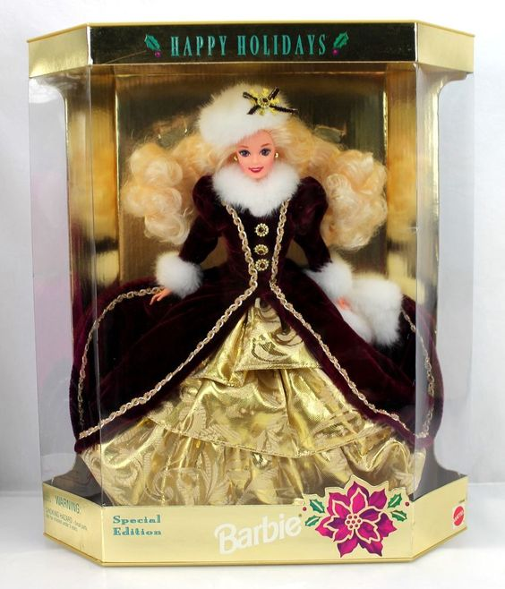 Barbie 1996 Happy Holidays Special Edition Red Velvet Gold Ruffles Muff 15646 #weboys10