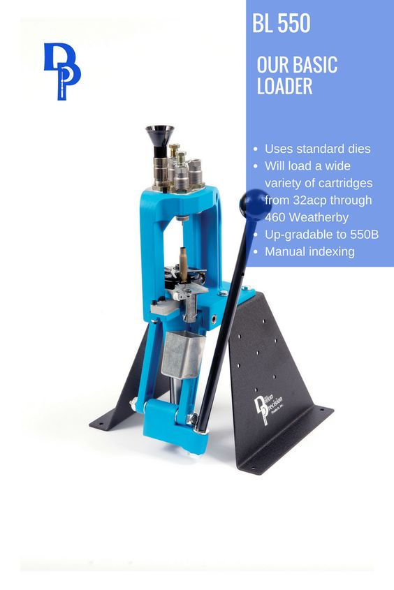 The Dillon BL 550 is the basic version of the RL 550B reloading machine. Instead of having the automatic powder measure and priming systems included with the RL 550B, the BL 550 offers a funnel system so weighed powder charges may be poured into the case without removing it from the shellplate. Primers are set into the primer seating arm by hand. The BL 550 will accommodate the widest variety of cartridges, from 32 ACP up through 338 Lapua, 416 Rigby and 460 Weatherby.