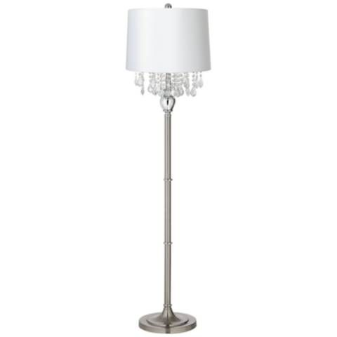 Crystals White Shade Brushed Nickel Floor Lamp 17p14 Lamps