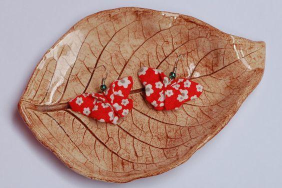 Boucles d'oreilles origami papillon en tissus par laboutiquesansnom