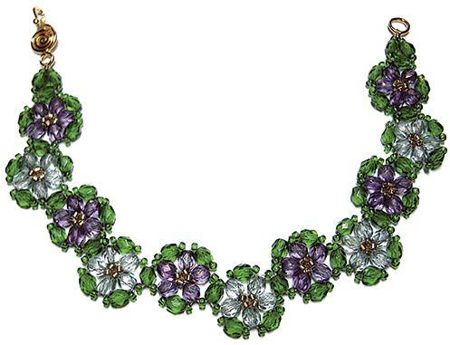 Crystal Luster Flower Bracelet: