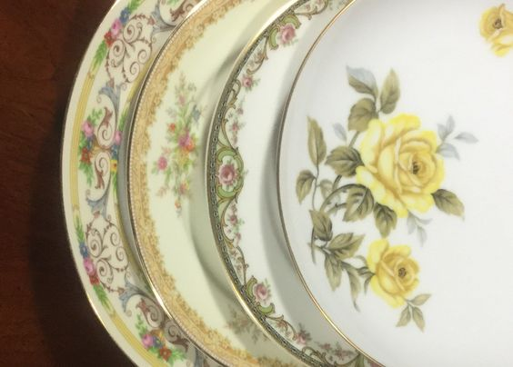 Mismatched China Salad Plates Weddings,Bridal Shower, Tea Party, Shabby Chic S163 by michilina on Etsy