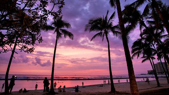 The breathtaking sunset on Waikiki Beach in Honolulu is one of Hawaii's greatest attractions.