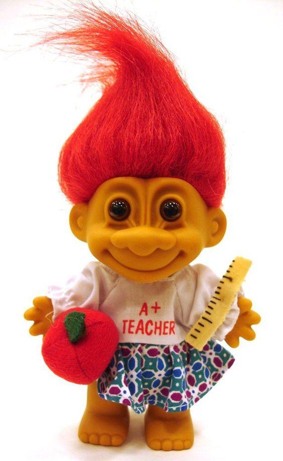 My Lucky A+ TEACHER Troll Doll (Red Hair) by creationsbycaradonna on Etsy