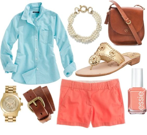 Love Coral and Tiffany Blue: Color Combos, Dream Closet, Prep Life, Tiffany Blue, Spring Summer, Summer Outfits, Fashionista Style, Coral Shorts