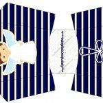 Envelope Fritas Batizado Menino Azul Marinho e Branco