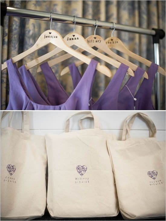 names on the hangers.  cute idea for an extra little bridesmaid gift + photo op