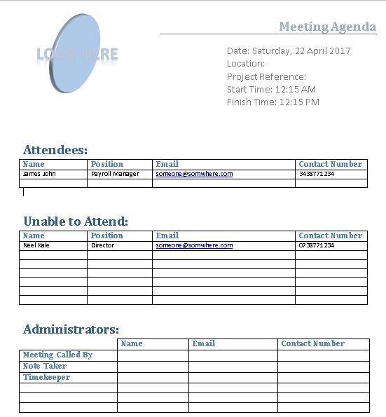 Project Management Meeting Agenda Template Free Download  Excel