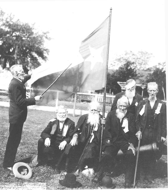 "Last Reunion Old Texian Veterans - Goliad, Texas, April 21, 1906.  From left to right: William P. Zuber, John W. Darlington, Asa C. Hill, Stephen F. Sparks, L. T. Lawlor, and Alphonso Steele.      ""I am near my ninety-third year, though my life seems short.  All of my old comrades have passed away, and I, the last survivor, am yet spared. I give God the praise. - William P. Zuber 1913."