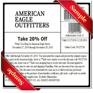American Eagle Printable Coupon December 2016   Eagles and ...