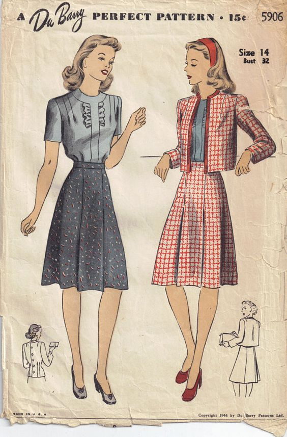 vintage 1940s dubarry 5906 sewing pattern blouse skirt