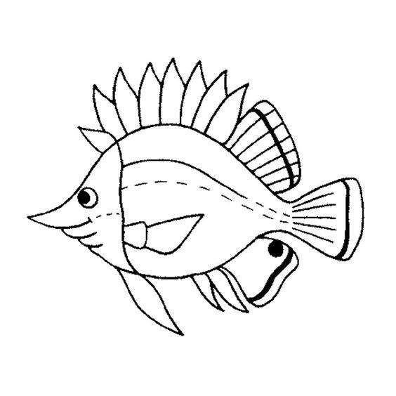 Coloriage poissons de mer mer pinterest - Coloriages poissons ...