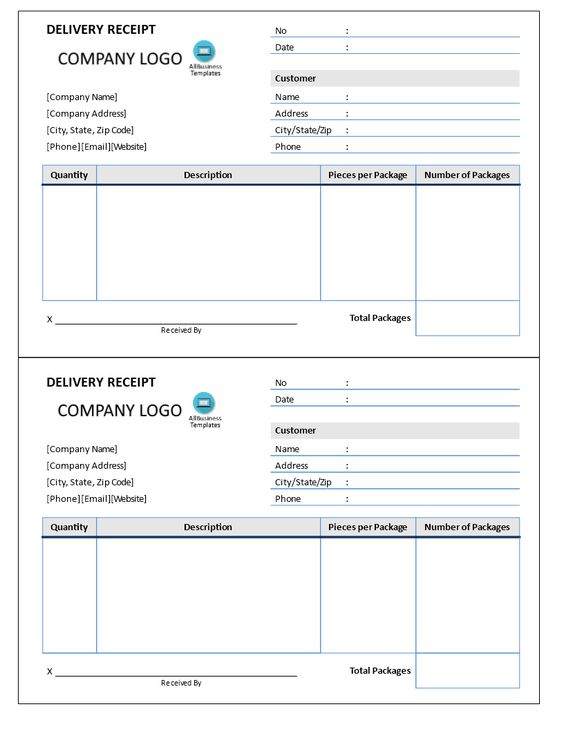 Delivery Receipt Delivery receipt standard template form – Standard Receipt