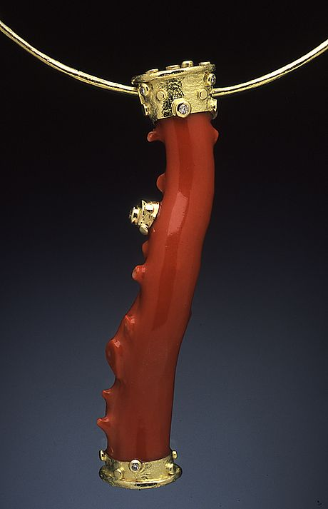 Hughes-Bosca Jewelry | Oxblood Coral pendant ~ 18K and white diamonds shown on18K chain: