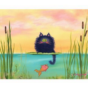 Cat Fishing — Matted Print