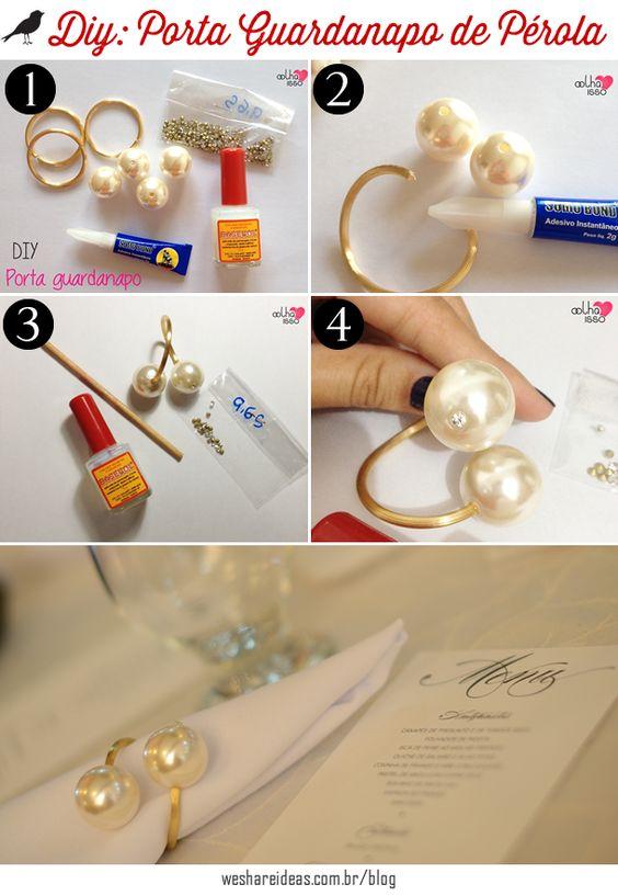 porta-guardanapo de pérolas, enfeite para guardanapo, napkin perl, diy, faça você mesmo: