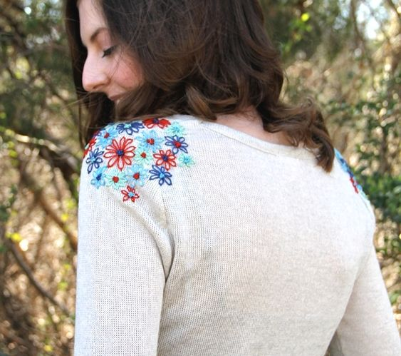 Flower Embroidered Shoulders on Sweater | Just Imagine ...