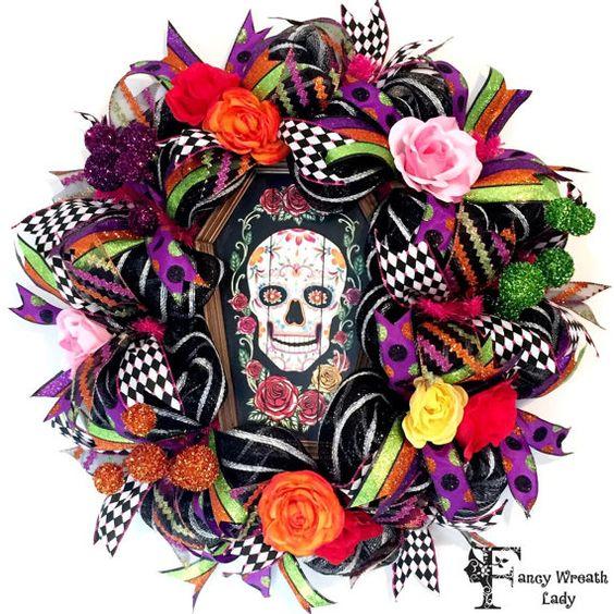 Sugar skull halloween, Halloween wreaths and Sugar skull ...