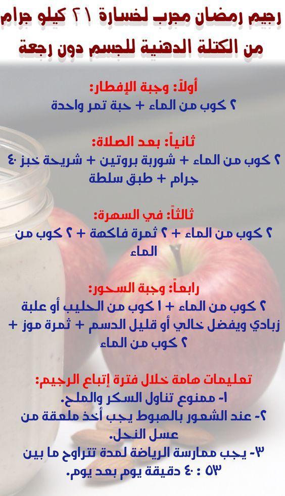 جدول رجيم سهل
