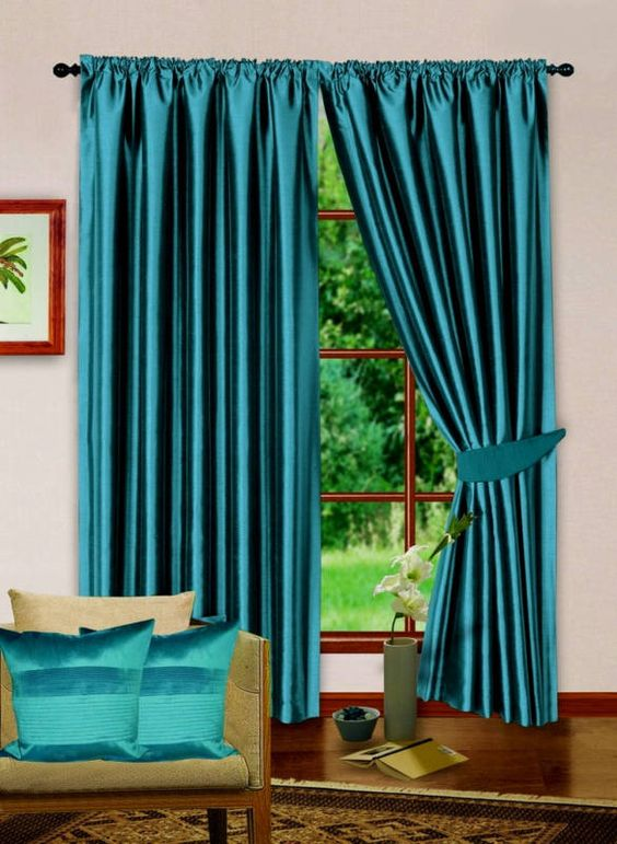 Image detail for -FULLY LINED CURTAIN PAIR TEAL BLUE DESIGNER FAUX SILK