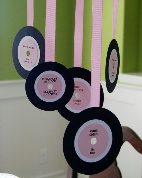 Cute hangings for Rock n Roll girls bday party - construction paper records hanging from pink streamers: