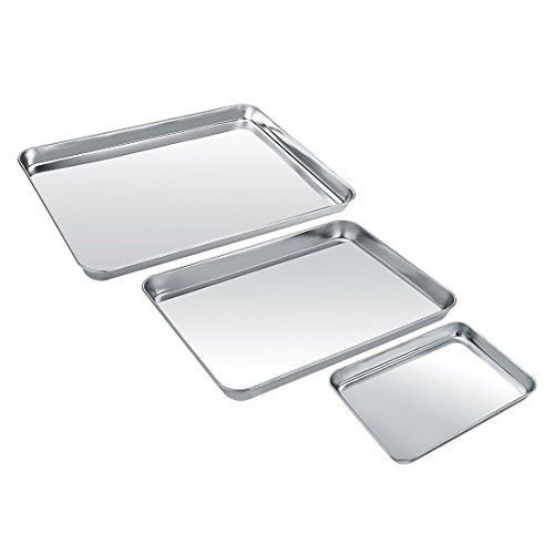 Baking Sheet Set Of 3 Zacfton Stainless Steel Cookie She Stainless Steel Cookie Sheet Bakeware Set How To Clean Rust