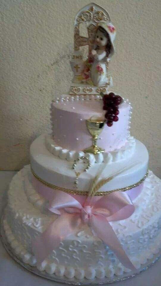 Pastel para bautizo de ni a bet n rosa y blanco muy for Decoracion para bautizo nina