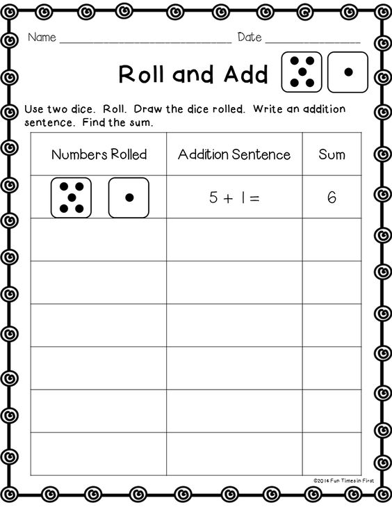 Five free print and go math pages using dice!