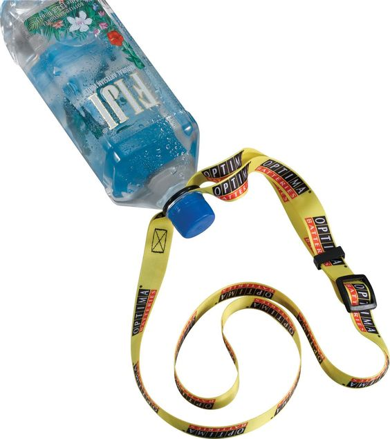 "3/4"" dye-sublimated/adjustable water bottle strap. Artwork will be reprinted on back side unless 'one side only' is requested. Backside imprint will not line up with the front side, meaning the back side of each lanyard will be unique. Pre production sample at no charge, must request on purchase order. Shipping not included. Add 5 business days to production if pre production sample is requested. 3/4"" W x 24"" L http://leaguepromos.com/lanyards-bottle-lanyard-c-22_24.html"