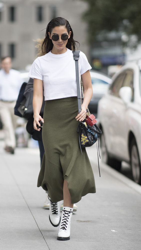 A White Cropped Tee, Skirt, and Combat Boots